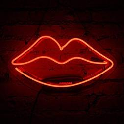 Lip Neon Sign Glass Neon Light for Girls Bedroom Lipstick St