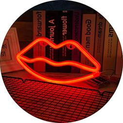 Hopolon Lip Neon Signs, LED Neon Light for Party Supplies, G