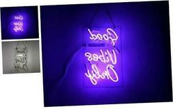LiQi Good Vibes ONLY Real Glass Handmade Neon Wall Signs for