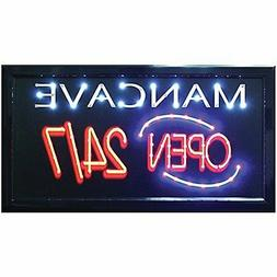 Man Cave Open 24/7 LED Hanging Sign- Light Up Your Bar Bedro