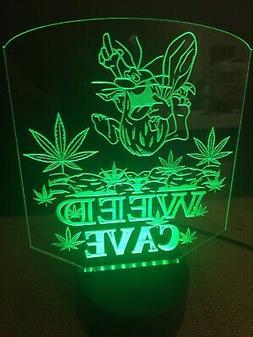 Marijuana Capt. Caveman Weed Man Cave LED Neon Light Sign Ga