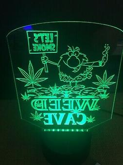 Marijuana Caveman Weed Man Cave LED Neon Light Sign Game Roo