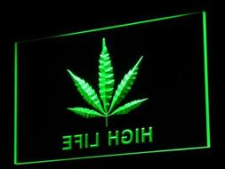 Marijuana Hemp Leaf High Life LED Sign Neon Light Sign Displ