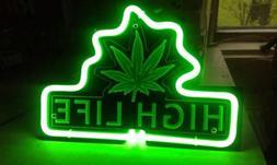Marijuana Open Leaf Weed High Life 3D Carved Neon Light Sign