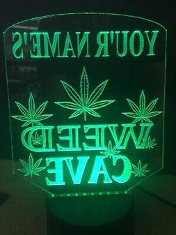 Marijuana Personalized Weed Man Cave LED Neon Light Sign Gam