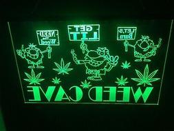Marijuana Weed Man Cave LED Neon Light Sign Game Room ,Bar