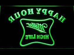 Miller High Life Happy Hour Bar LED Neon Light Sign Man Cave