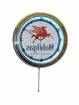 "15"" MOBILGAS Pegasus Sign Single Neon Clock Gas Station Oil"