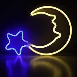 Moon Neon Light Blue Star Neon Sign USB Powered LED Night Li