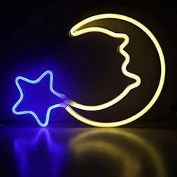 Moon Neon Light Blue Star Sign USB Powered LED Night Childre