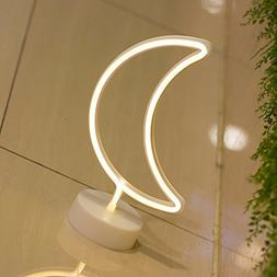 DELICORE Moon Neon Signs, LED Neon Light Sign with Holder Ba