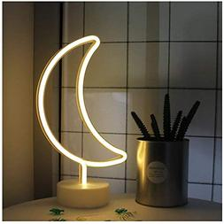 Moon Shape led neon Night Light with Base Marquee Sign lamp
