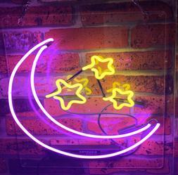 "Moon Stars Purple Yellow Neon Lamp Sign 14""x10"" Acrylic Brig"