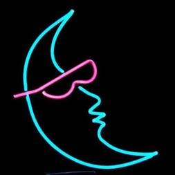 "Moon With Sunglasses Neon Lamp Sign 17""x14"" Bar Light Glass"
