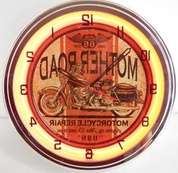 """Mother Road Motorcycle 15"""" Neon Lighted Wall Clock Sign Oran"""
