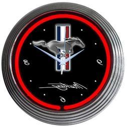 "Neonetics Mustang Neon Wall Clock, 15"""
