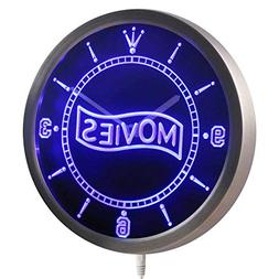 ADVPRO nc0399-b Movie Night Decor Neon Sign LED Wall Clock