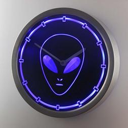 nc0704-b Alien Space Ship Neon Sign LED Wall Clock