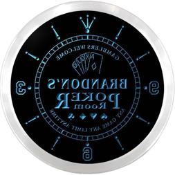 ncx0068-tm Brandon's Poker Room Custom Name Neon Sign Clock