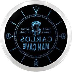 ncx0081-tm Carlos Man Cave Bar Custom Name Neon Sign Clock