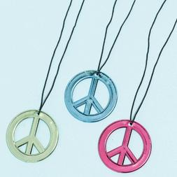 NEON BIRTHDAY PEACE SIGN NECKLACE 12 COUNT