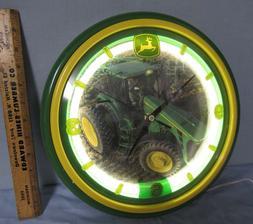 John Deere Neon Clock ~ 12 inches Standard Neon Round Edge R