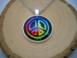 Neon Color Peace Sign Cabochon Glass Pendant Silver Chain Ne