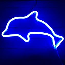 MUMUXI Dolphin Neon Signs Night Light USB & Battery Powered