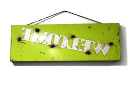Neon green Welcome sign, Vintage style welcome sign, rustic
