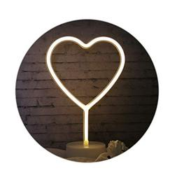 LED Neon Heart Night Light, USB & Battery Operated, Holder B