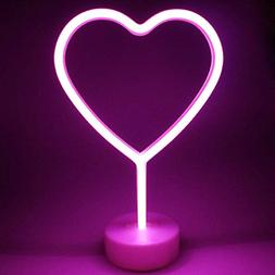 Neon Heart Sign Pink Light Heart Shape Neon Night Light Sign