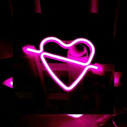 Neon Heart Signs Led Lights up Sign Decorative Wall Light fo