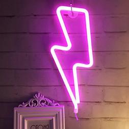QiaoFei Neon Light,LED Lightning Sign Shaped Decor Light,Wal