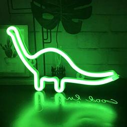 neon light dinosaur sign shaped