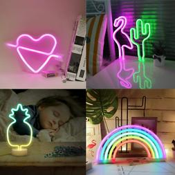 Neon Light Sign, LED Lamp Decor, Rainbow/Cactus/Cupid Heart/