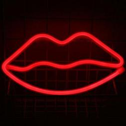 Neon Light Sign Lips Wall Night Fairy Lights Marquee Battery