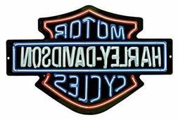 Harley-Davidson Neon Lights Embossed Bar & Shield Tin Sign,