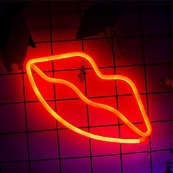 Neon Lip Sign Red, Battery Powered Neon Light, LED Lights Ta