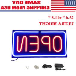 Neon Open Sign 24x12 inch Led Light 30W Horizontal Pubs Deco