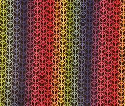 """Neon Peace Signs on Black Background Cotton Fabric  7"""" x 1"""