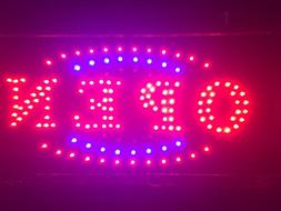 """LED Neon Sign with Motion -""""OPEN"""" Red/Blue/Green Sign for Wi"""