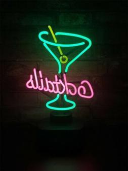 Neon Sign Cocktails Table Bar Novelty Gift Light Desktop Han