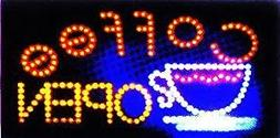LED NEON Sign Coffee OPEN, advertisement board Electric Disp