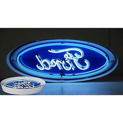 Neon sign Ford  oval in a metal steel can dealership style w