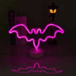 Neon Sign Halloween Night Lights, Bat Shape Battery Operated