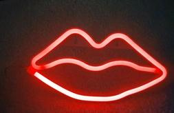 neon sign   HOT LIPS   BRIGHT RED   easy to mount  10 1/4 in