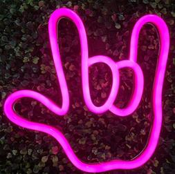 Neon Sign I Love You Gesture Finger Portable Battery Powered