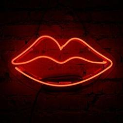 Neon Sign Lip Shaped Glass Neon Light for Girls Bedroom Lips