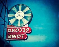 Neon Sign Photography Print. Fort Worth Texas Record Store