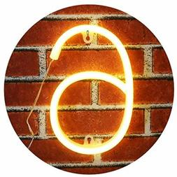 Neon Number Sign Wall Decorative Neon Lights Warm White Alph